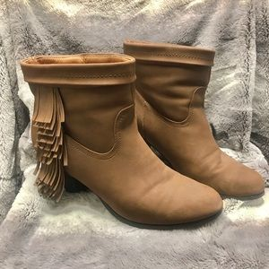 JustFab Fringe Booties - Size 10